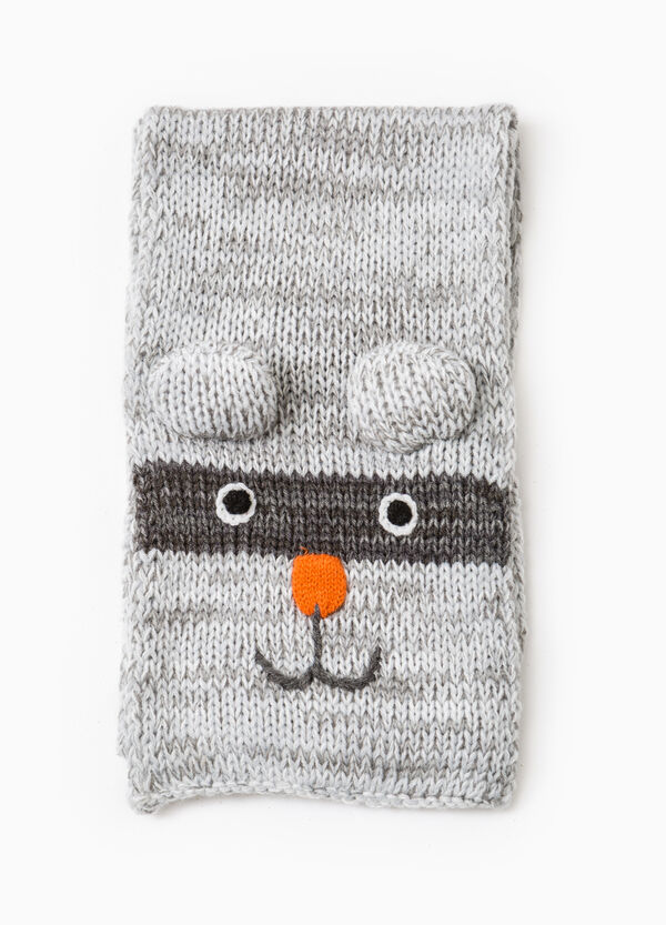 Knitted scarf with ears and embroidery | OVS