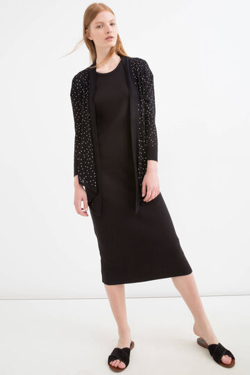 Viscose cardigan with star print, Black/White, hi-res