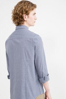 Camicia casual slim fit a quadri, Blu, hi-res