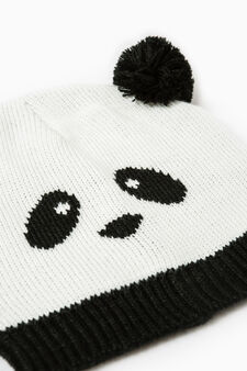 Beanie cap with embroidered panda, White/Black, hi-res