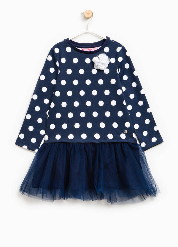 Polka dot dress with tulle flower | OVS