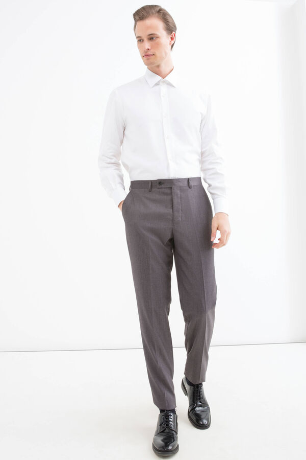 Viscose blend trousers with crease | OVS