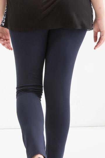Curvy stretch cotton leggings, Navy Blue, hi-res