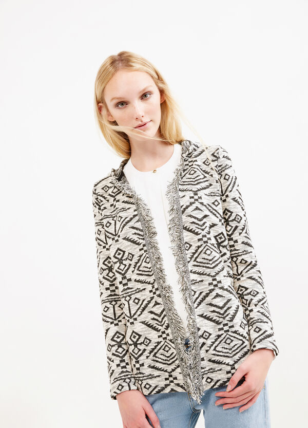 Geometric patterned sweatshirt with fringes | OVS