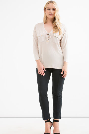 Curvy solid colour blouse, Chalk White, hi-res