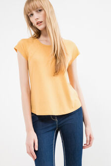 100% cotton T-shirt with rounded hem, Yellow, hi-res