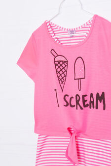 Cropped T-shirt in 100% cotton, Fuchsia, hi-res