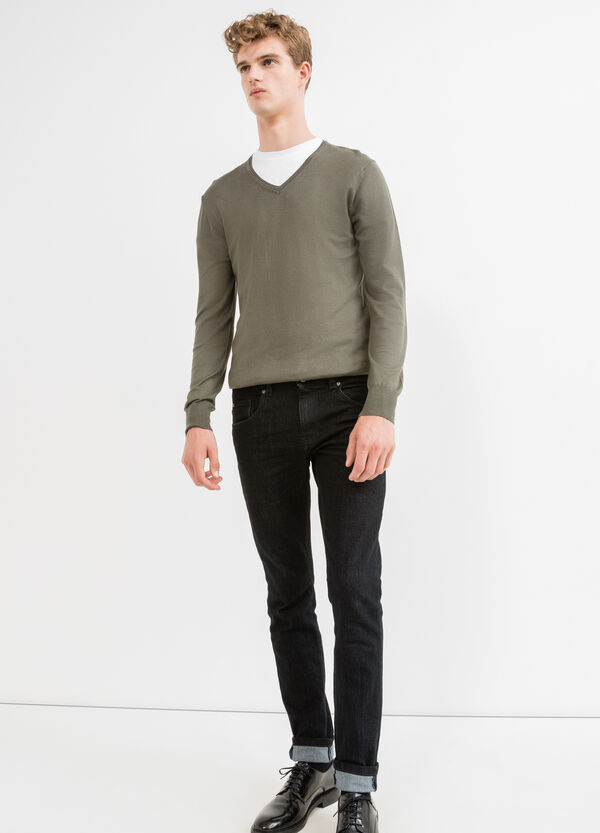 Viscose pullover with V-neck and ribbing | OVS