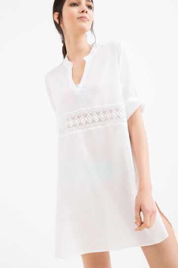 Embroidered beach cover-up in 100% cotton, White, hi-res