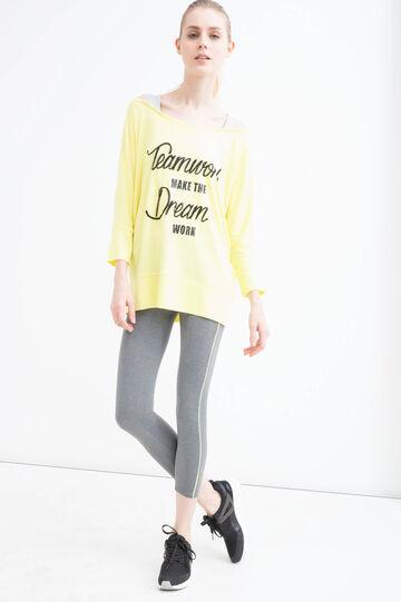Viscose blend gym T-shirt, Yellow, hi-res