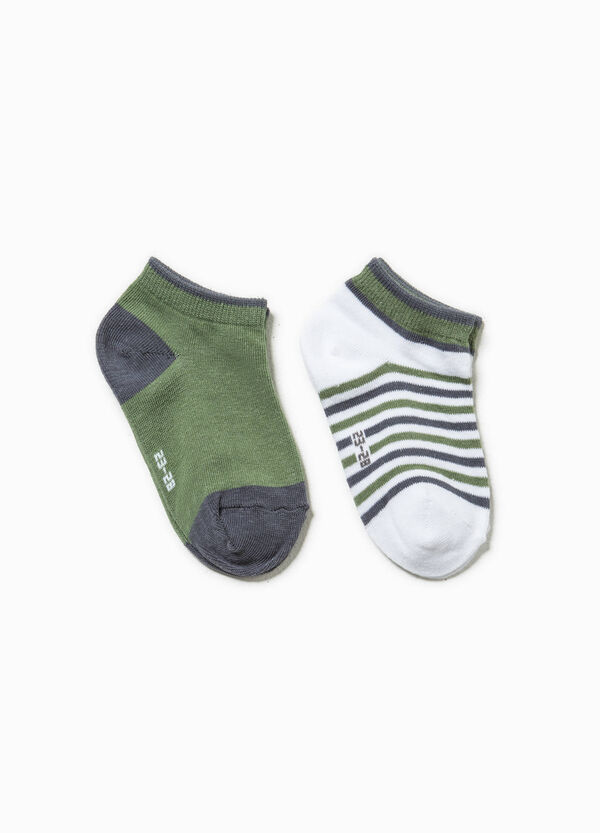 Two-pair pack solid colour and striped short socks | OVS
