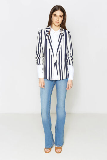 Striped blazer with three-quarter sleeves, White/Blue, hi-res
