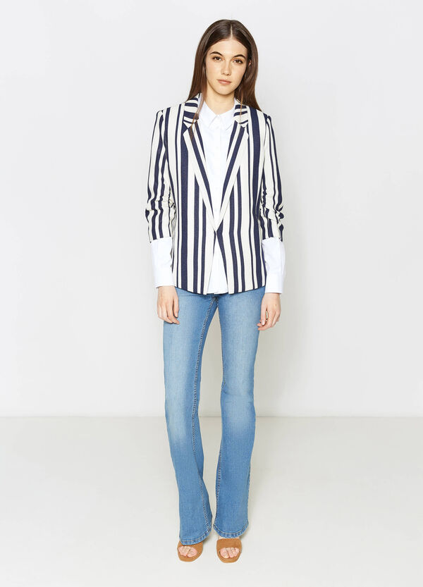 Striped blazer with three-quarter sleeves | OVS