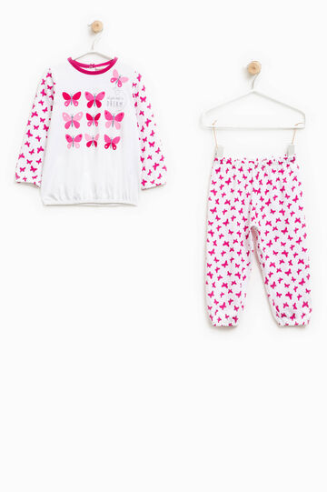 Pijama en algodón 100% con mariposas, Blanco/Violeta, hi-res