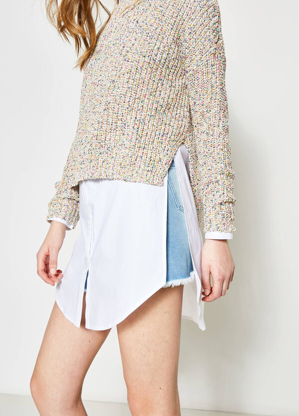 Knitted pullover with drop shoulder | OVS