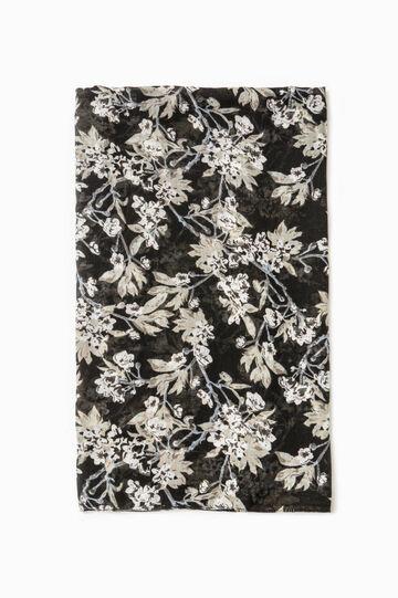 Sciarpa con stampa floreale, Nero, hi-res