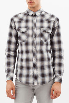 G&H tartan shirt with pockets, White/Grey, hi-res