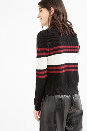 Knitted round neck pullover with embroidery, Black, hi-res