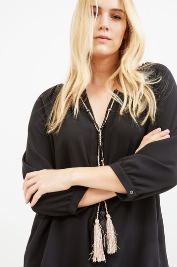 Curvy stretch blouse with tassels, Black, hi-res