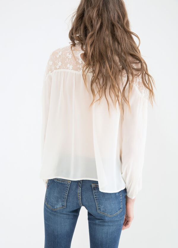 Solid colour embroidered blouse | OVS