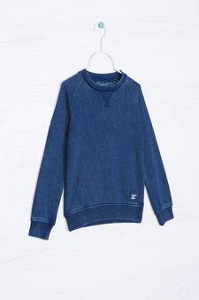 Solid colour cotton blend hoodie, Blue, hi-res