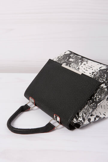 Animal print leather look handbag, Black/White, hi-res