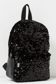 Solid colour backpack with sequins, Black, hi-res