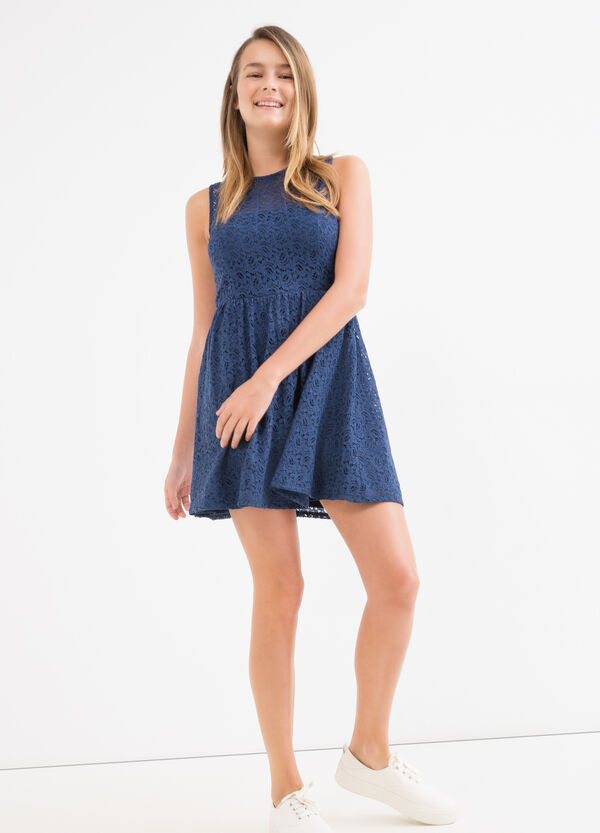 Solid colour Teen lace dress. | OVS