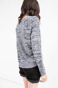 Round neck pullover with raglan sleeves, Navy Blue, hi-res