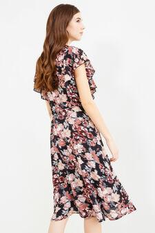 Longuette dress with floral print, Black, hi-res