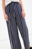 Pantaloni puro cotone a righe, Nero, hi-res