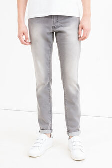 Slim-fit faded stretch jeans, Denim, hi-res