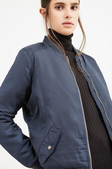 Solid colour bomber jacket with zip, Navy Blue, hi-res