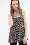 100% viscose top with all-over print, Black, hi-res