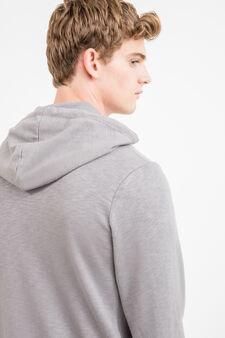Hoodie with printed lettering, Grey, hi-res