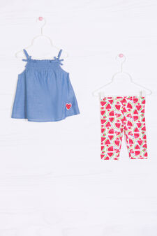 Watermelon print cotton outfit, Denim, hi-res