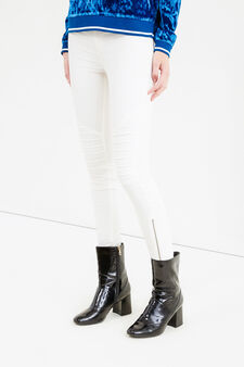 Stretch cotton jeggings with zip, Cream White, hi-res