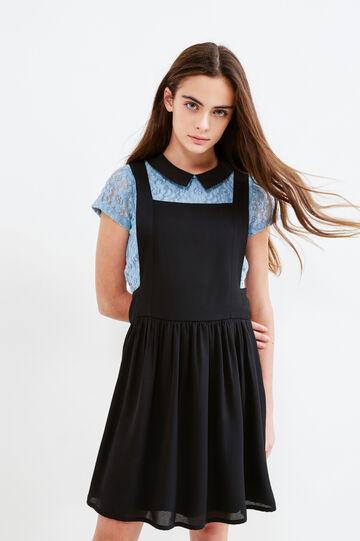 Teen pinafore dress with braces, Black, hi-res