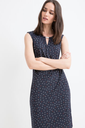 Stretch patterned midi dress, Navy Blue, hi-res