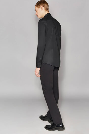 Slim-fit formal shirt in stretch cotton, Black, hi-res