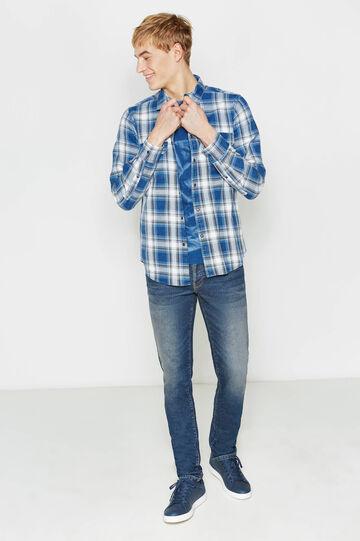 Camicia casual in puro cotone tartan, Bianco/Blu, hi-res
