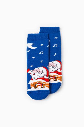 Calze antiscivolo Babbo Natale, Blu, hi-res