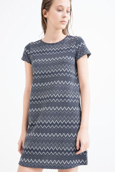 Stretch printed dress with lurex, Blue, hi-res