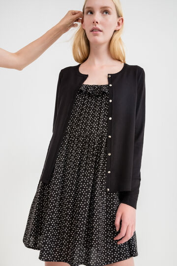 Viscose cardigan with mother-of-pearl buttons, Black, hi-res