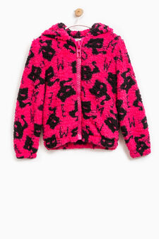 Fur sweatshirt with all-over print, Black, hi-res