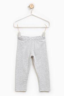 Solid colour stretch cotton leggings, Light Grey, hi-res