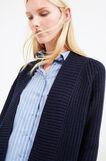 Long chunky knit cardigan, Blue, hi-res