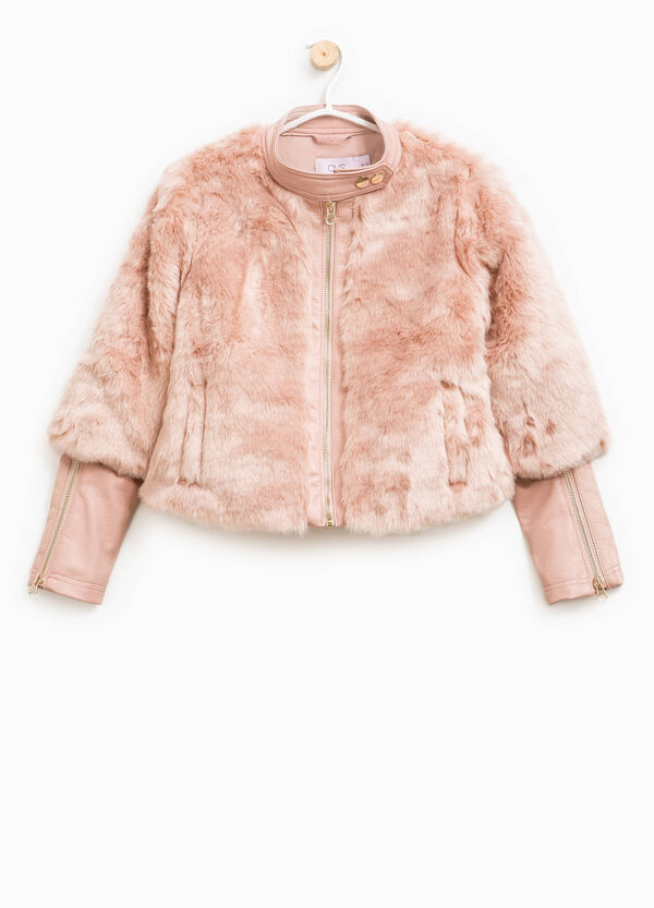 Fur jacket with faux layer sleeves | OVS