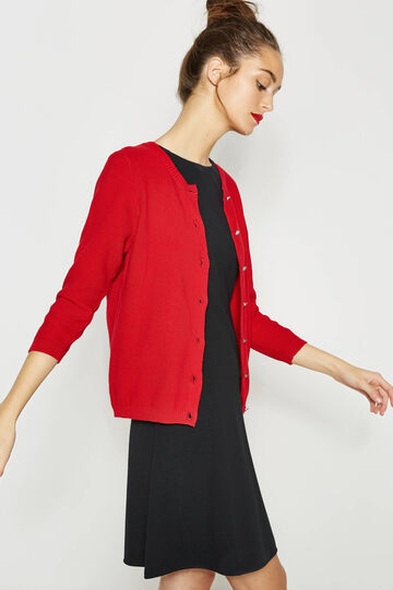 Knitted cardigan with three-quarter sleeves, Red, hi-res
