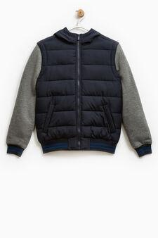 Down jacket with fleece sleeves, Dark Blue, hi-res